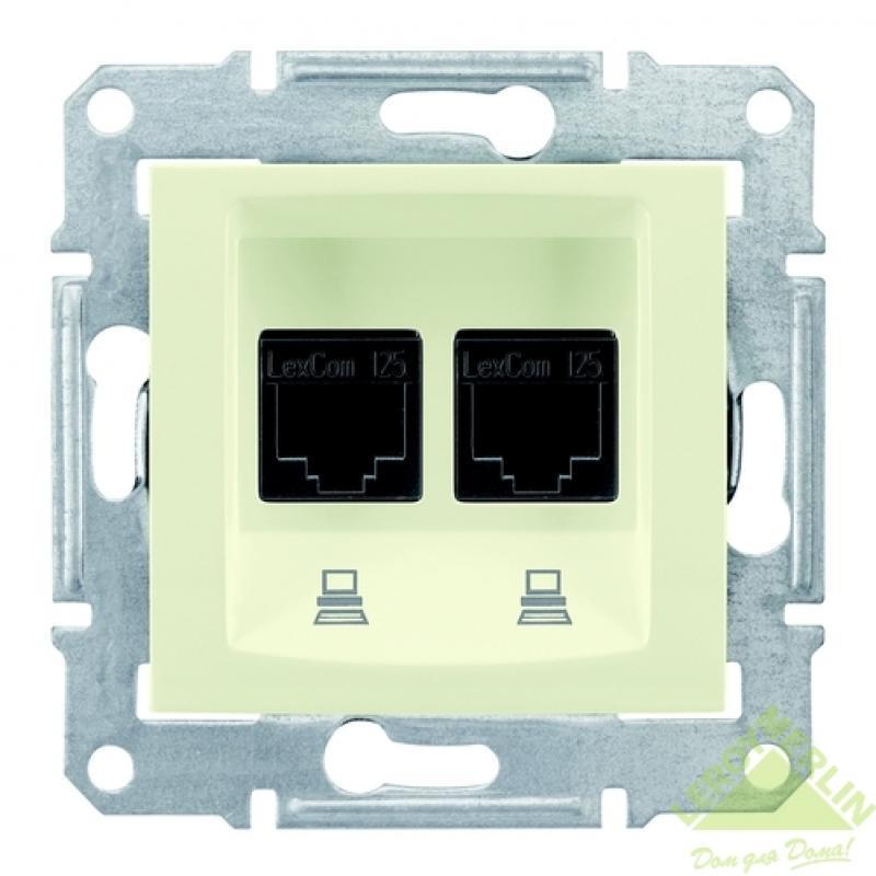 Розетка компьютерная Schneider Electric Sedna, 2 разъема, цвет бежевый