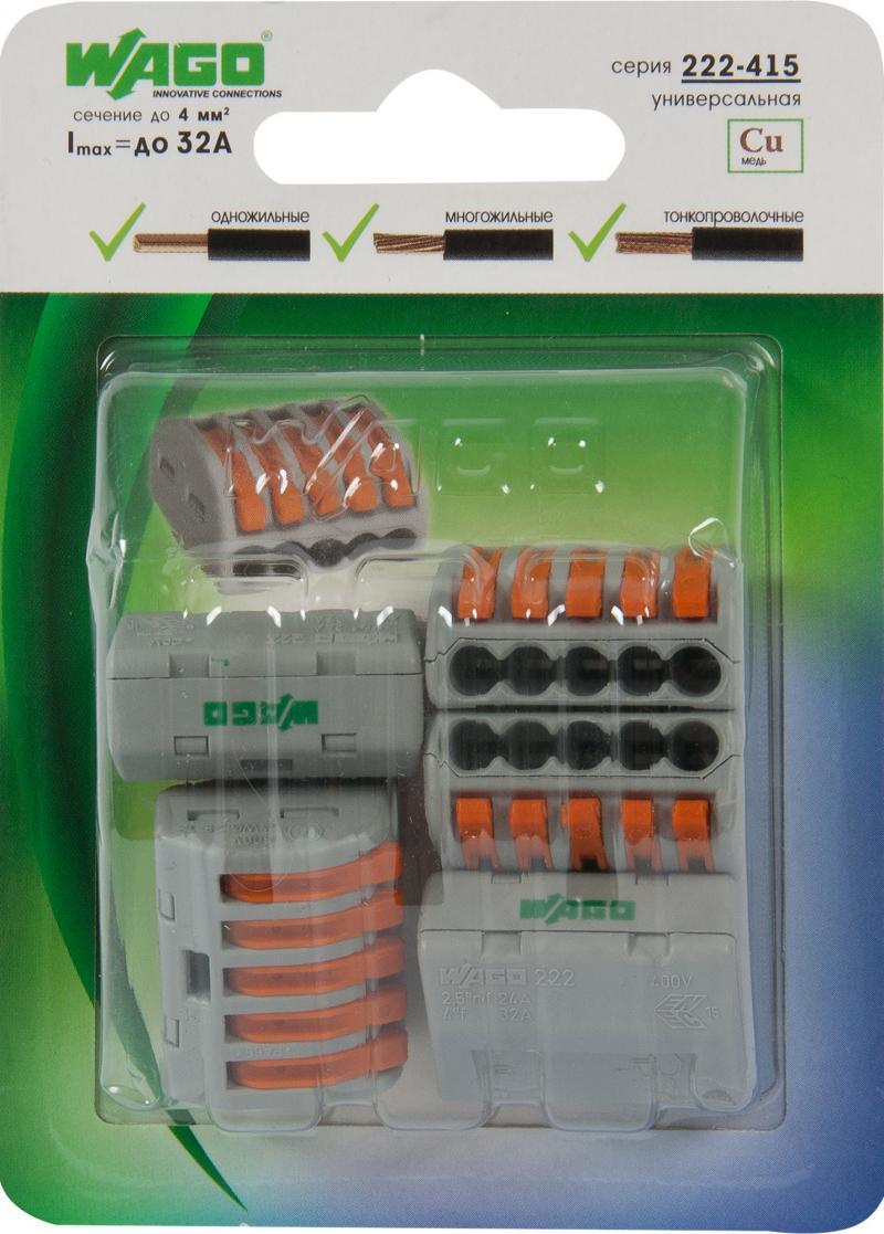 Клемма Wago 5 разъемов под провода 26.6х14х5х20.5 мм, полиамид, 5 шт.