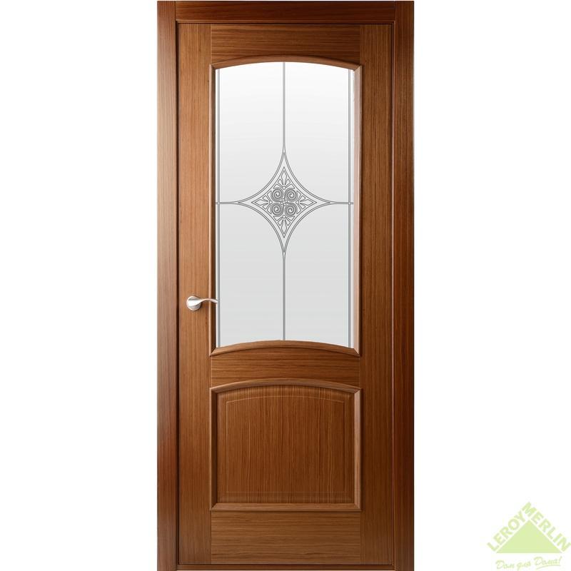 Полотно дверное остекленное Сорренто 2000x700 мм, шпон, орех