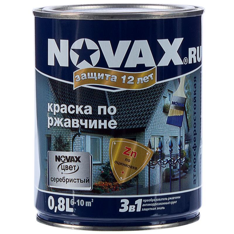 Эмаль по ржавчине Novax цвет серебристый 0.8 л