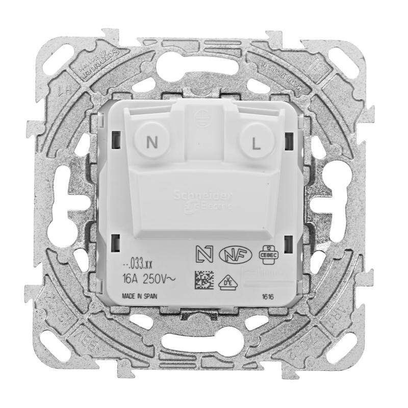 Розетка встраиваемая Schneider Electric Unica без заземления, со шторками, цвет белый