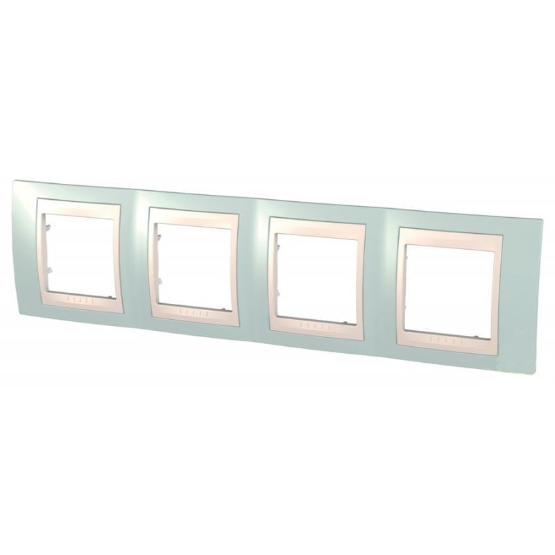 Рамка для розеток и выключателей Unica, 4 поста, цвет голубой лед/белый