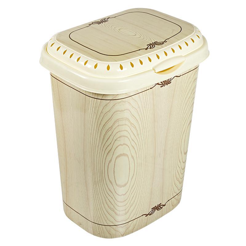 Корзина для белья с крышкой Белёный дуб, 55л
