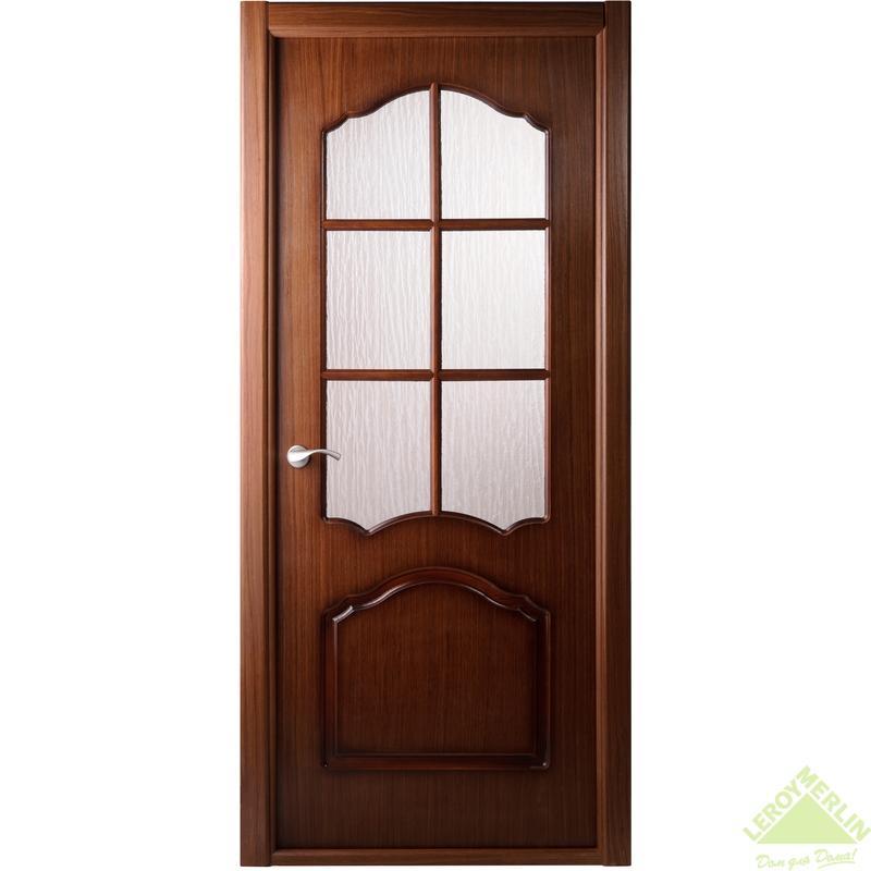 Дверь межкомнатная остеклённая Каролина 600x2000 мм, орех