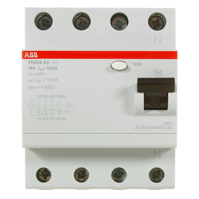 УЗО Abb 4 полюса 25 А, 2CSF204004R1250