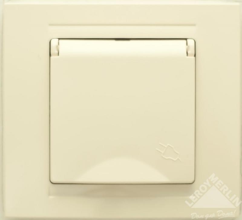 Розетка Gunsan Moderna с заземлением, крышка, цвет кремовый