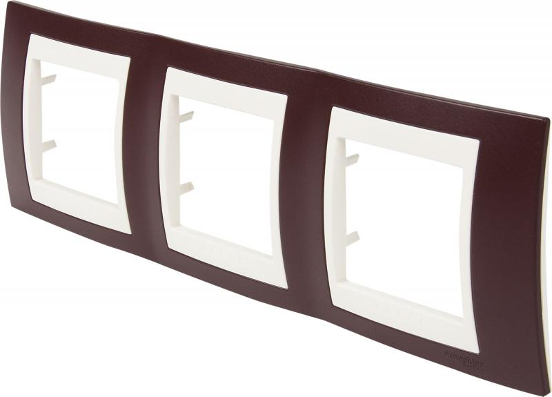 Рамка для розеток и выключателей Schneider Electric Unica 3 поста, цвет гранат/бежевый