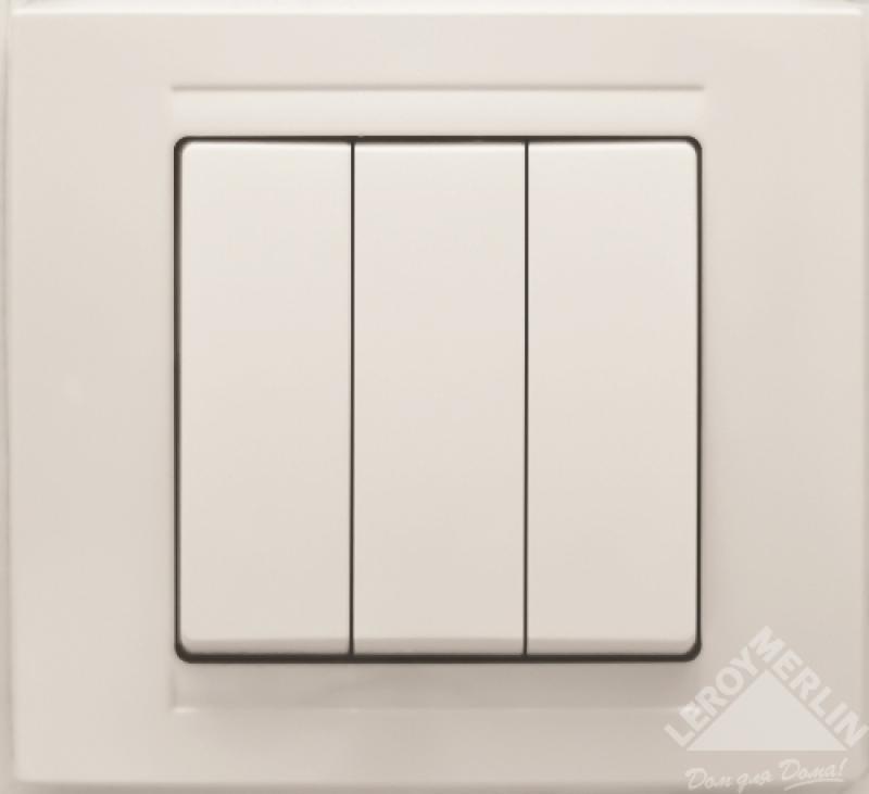 Выключатель Gunsan Moderna 3-клавишный, белый