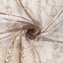 Тюль с вышивкой «Эксклюзив» сетка 290 см цвет шоколадный