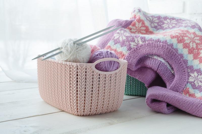 Корзина для хранения «Вязание», 4 л, цвет пурпурный