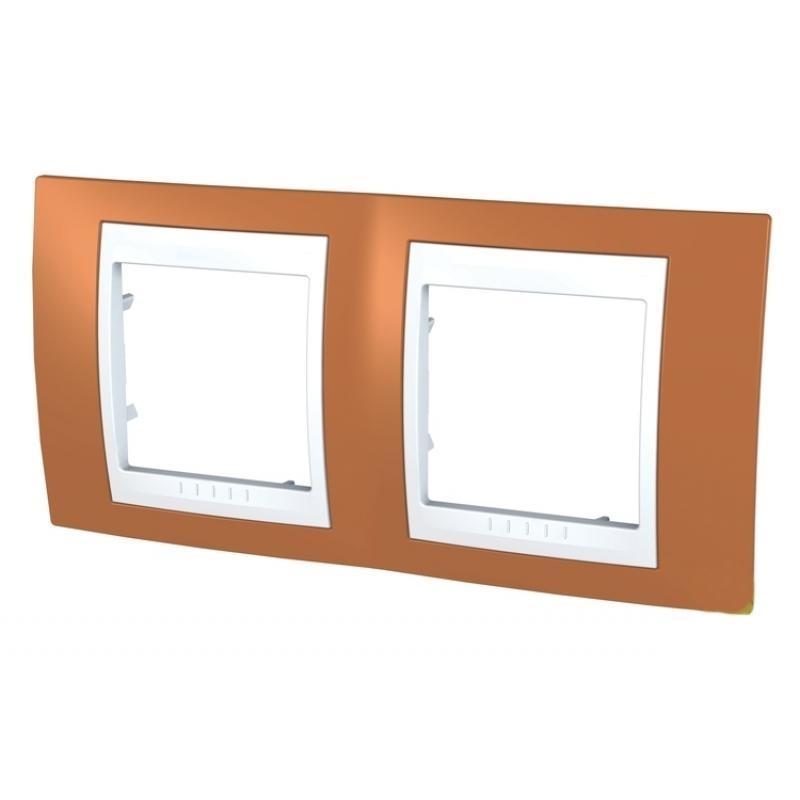 Рамка для розеток и выключателей Unica, 2 поста, цвет оранжевый/белый