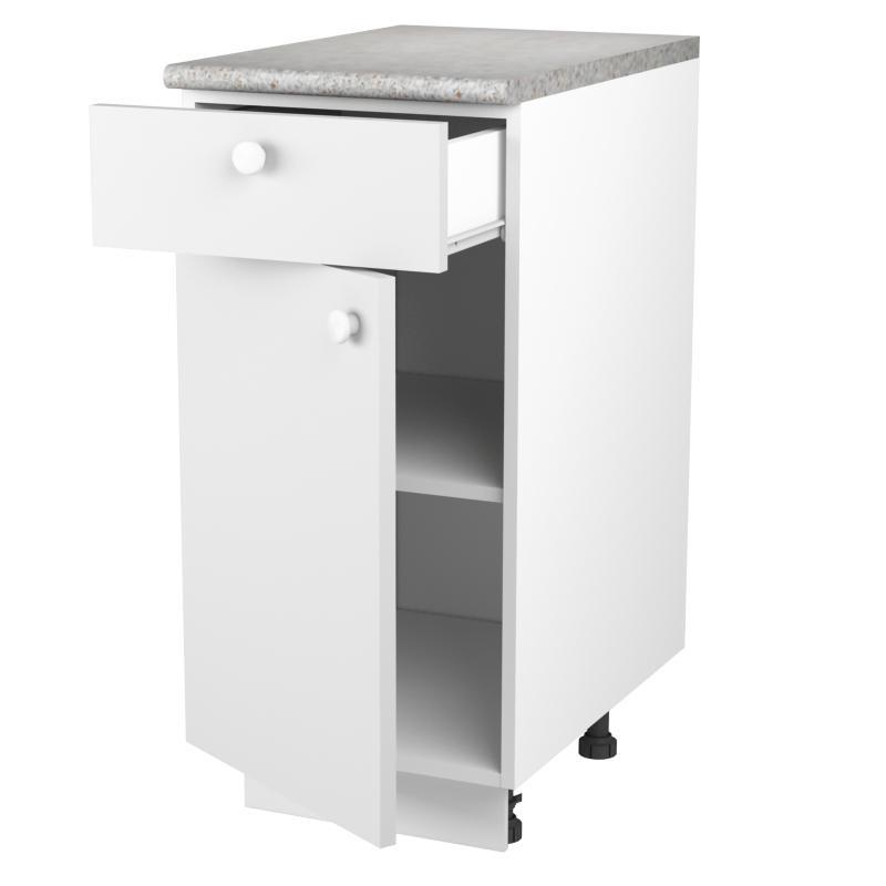 Шкаф напольный «Бьянка МО» с фасадом и одним ящиком 80х40 см, ЛДСП, цвет белый