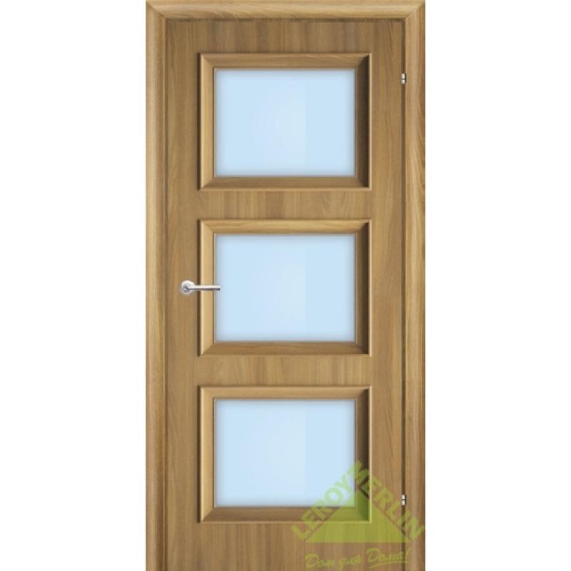 Дверь межкомнатная остеклённая, 600 мм, акация, замок 2014