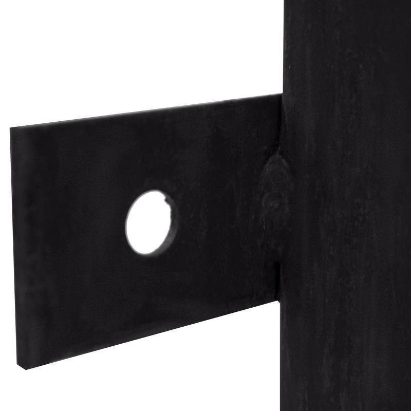 Столб для забора с планкой (ушами), высота 2.4 м, 40х40, цвет чёрный