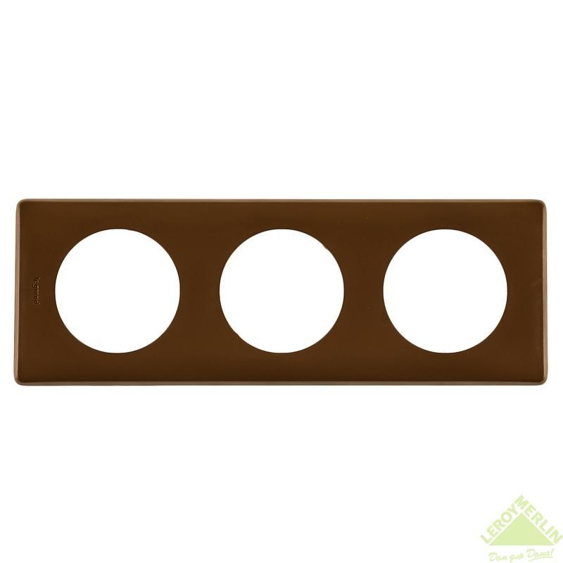 Рамка для розеток и выключателей Celiane, 3 поста, цвет корица