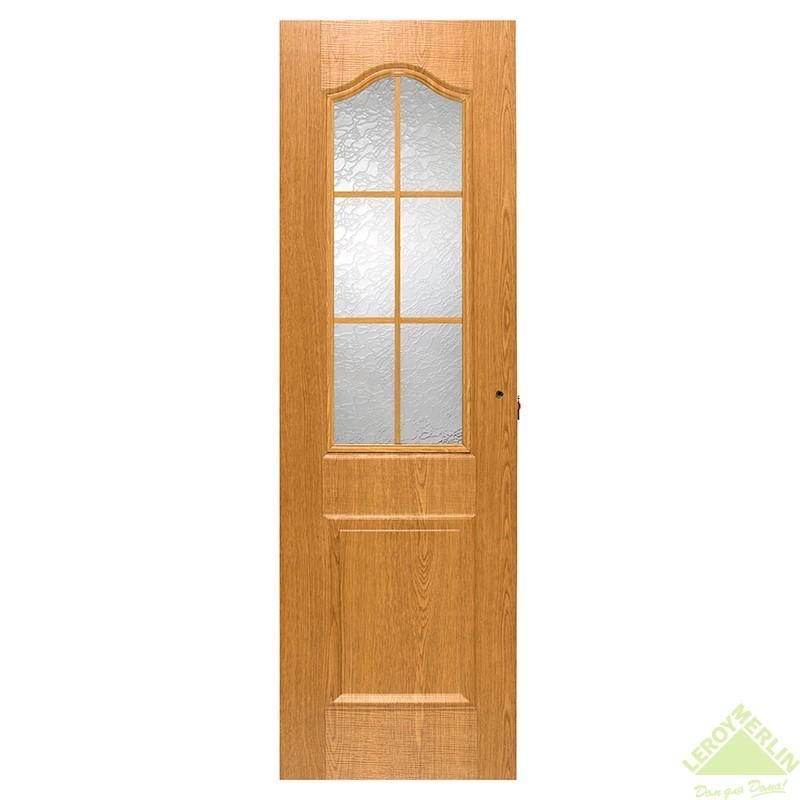 Дверь межкомнатная остеклённая Капричеза 600x2000 мм, светлый дуб