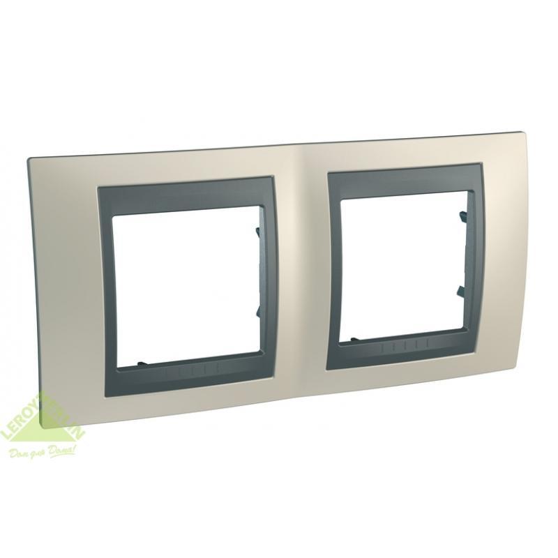 Рамка для розеток и выключателей Schneider Electric Unica Top 2 поста опал/графит
