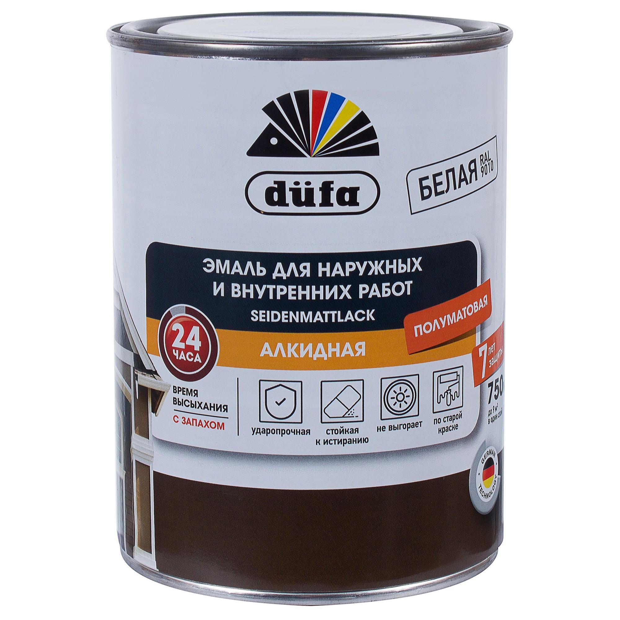 Акрилдік шайыр негізіндегі су қосып сұйылтатын эмаль: Dufa Seidenmattlack эмалі, жартылай күңгірт, ақ түсті, 0,75 л