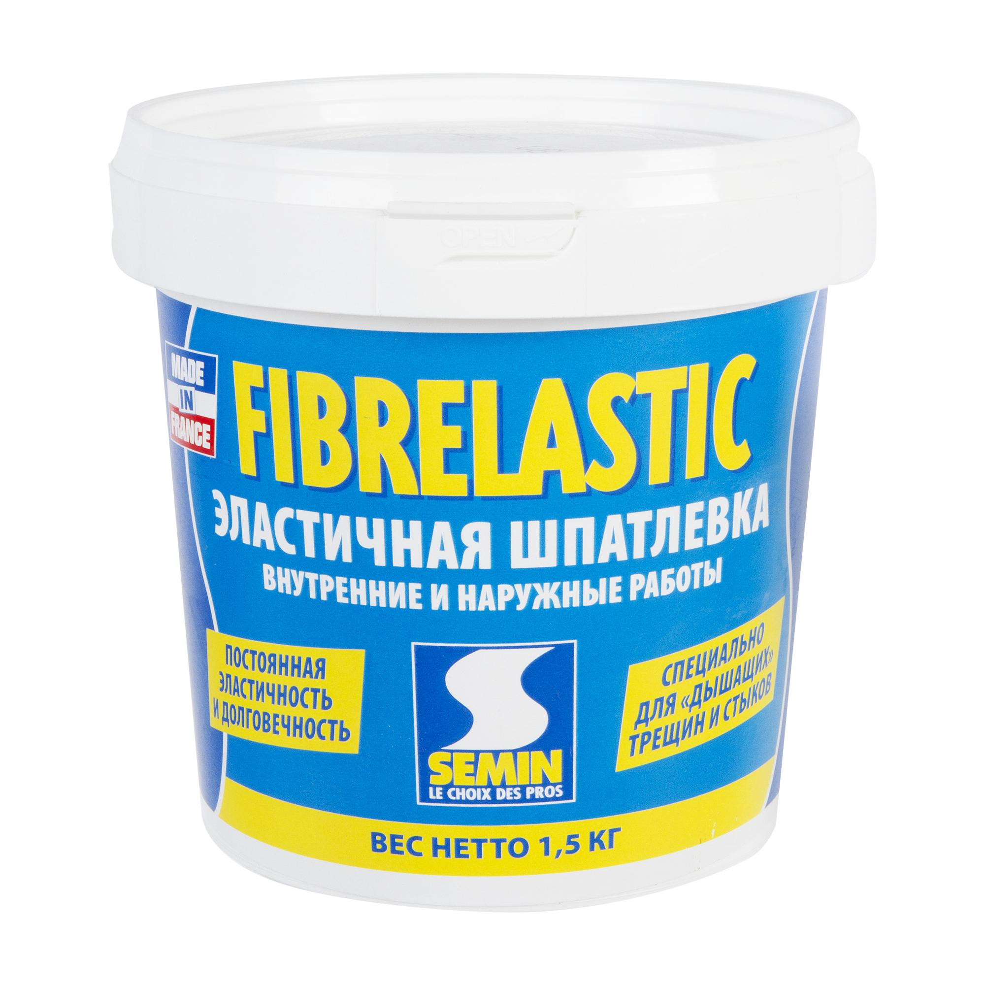 Бояу жұмыстарына арналған тегістегіштер: FIBERLASTIC Semin эластикалық тегістеуіші, 1 қаптаманың салмағы 1,5 кг