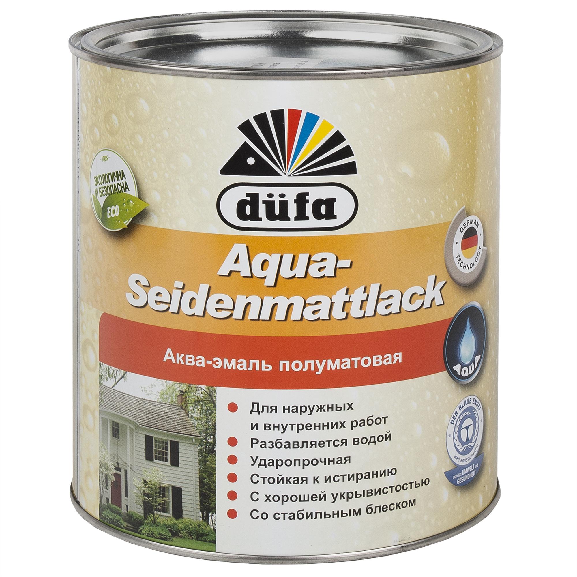 Акрилдік шайыр негізді су қосып сұйылтылатын эмаль: Dufa Aqua-Seidenmattlack эмалі, жартылай күңгірт, түсі ақ, 2,5 л