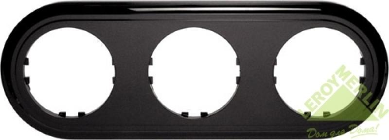 Рамка LK Vintage-Classic 3 поста круглая, черная
