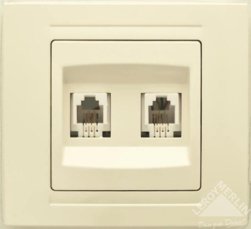 Телефонная розетка двойная встраиваемая Gunsan Moderna RJ11, цвет кремовый