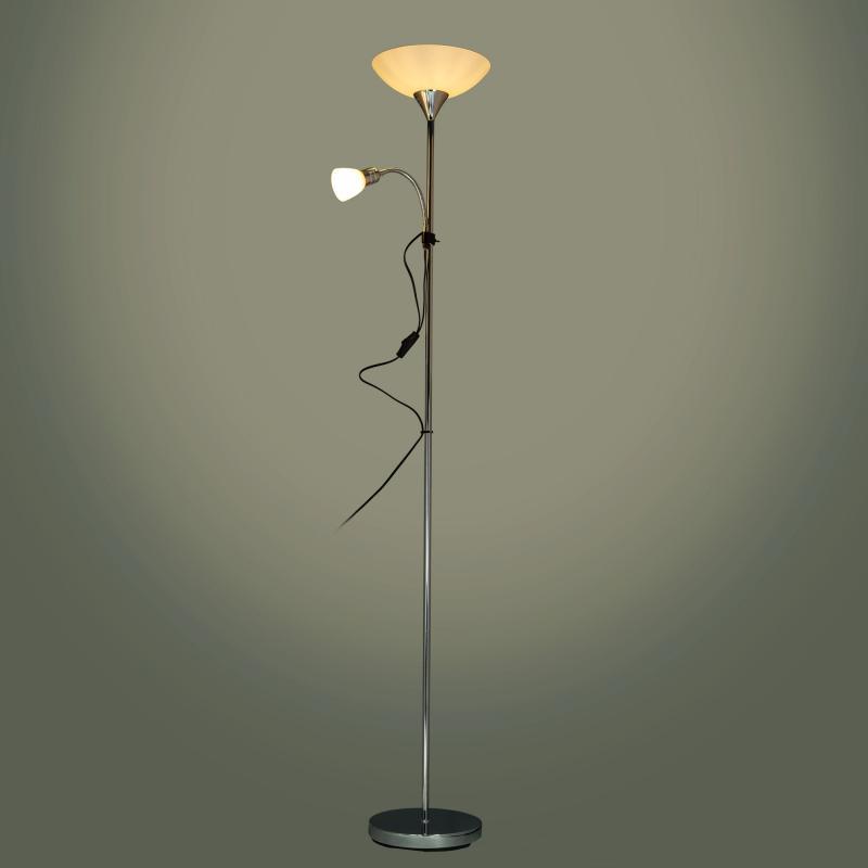 Торшер Gustav, 1хE27x60 Вт, E14x40 Вт, хромированная сталь