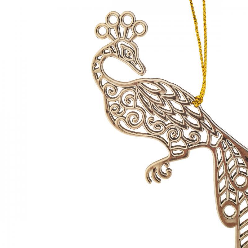 Украшение ёлочное «Жар-птица», 11 см, гальваника, цвет золото светлое