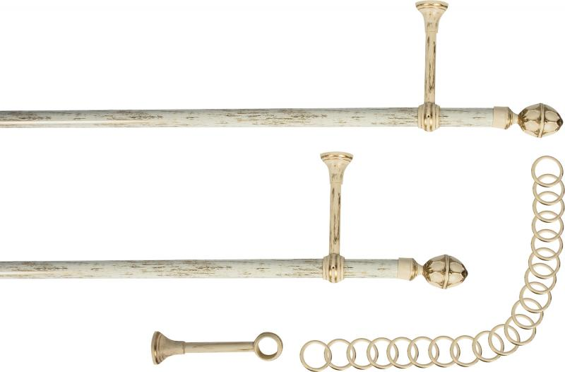Карниз двухрядный Кракелюр 240 см металл/пластик цвет слоновая кость