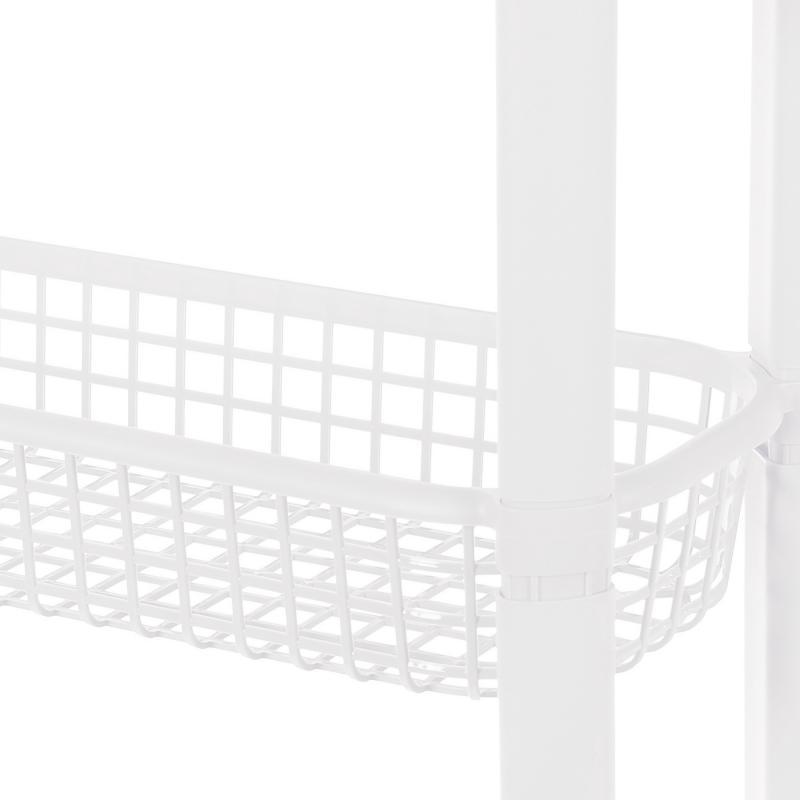 Этажерка узкая, на колёсах, 4 ящика, 59х79х18 см, цвет белый