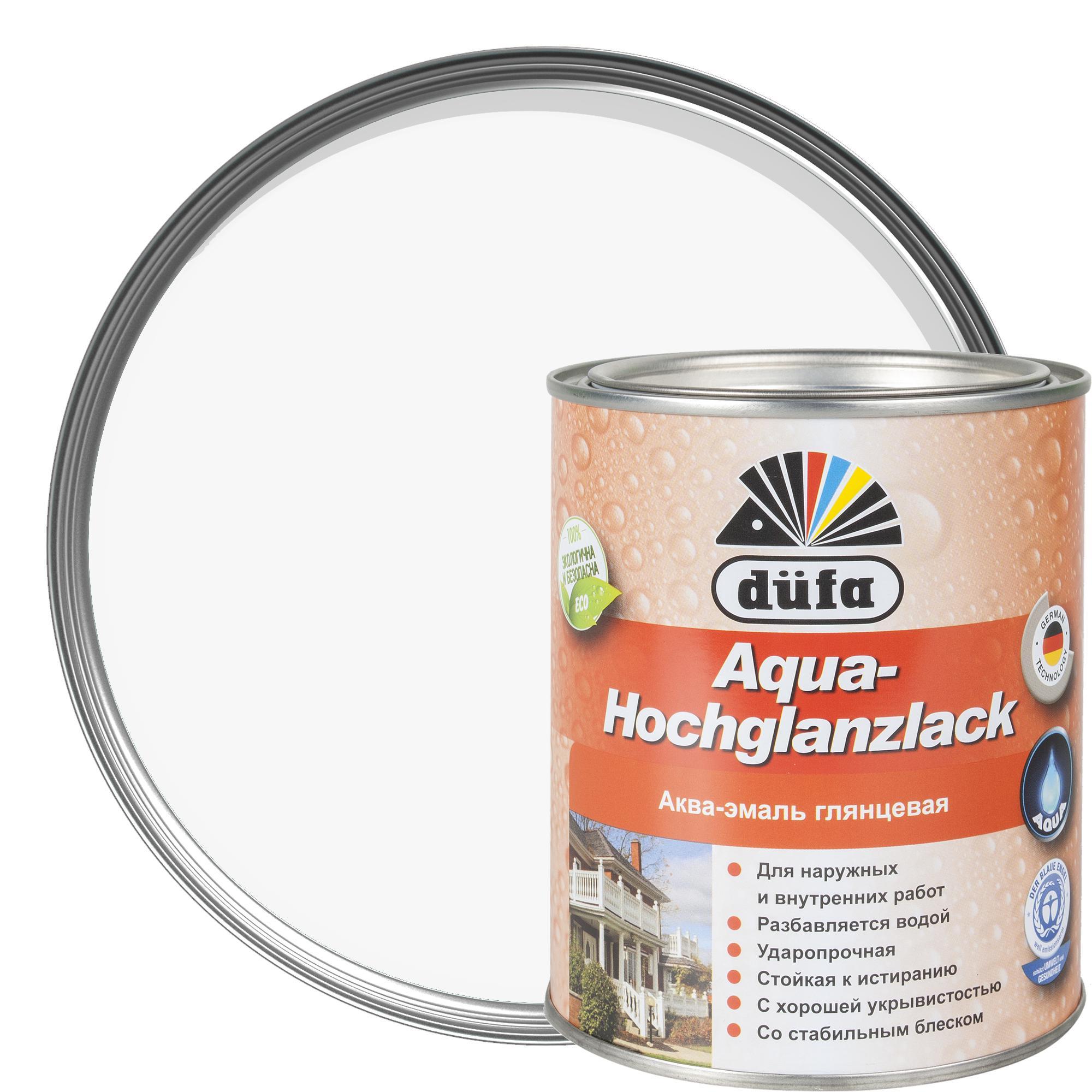 Акрилдік шайыр негізіндегі су қосып сұйылтатын эмаль: Dufa Hochglanzlack эмалі, жылтыр, ақ түсті, 0,75 л