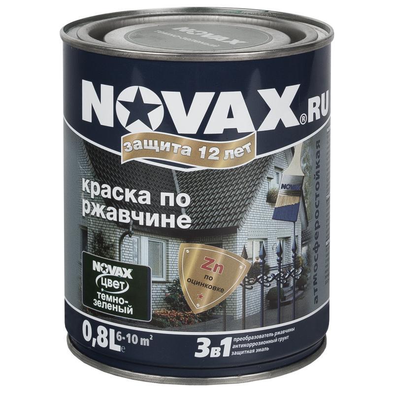 Эмаль по ржавчине Novax цвет тёмно-зелёный 0.8 л