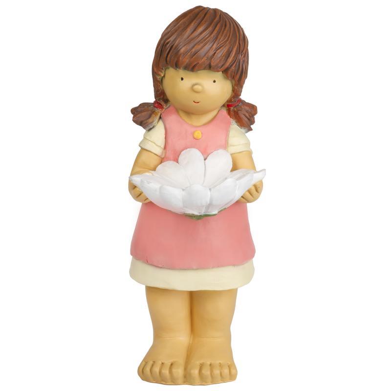 Фигура садовая «Девочка с цветком» поилка высота 54 см