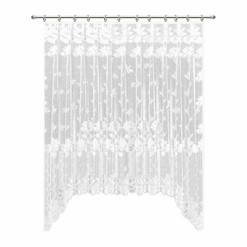 Занавеска для кухни на ленте «Лилии», 200х165 см, жаккард, цвет белый