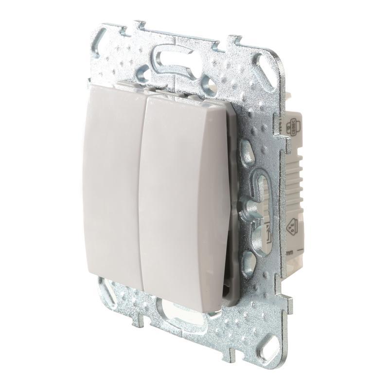 Переключатель встраиваемый Schneider Electric Unica 2 клавиши, цвет белый