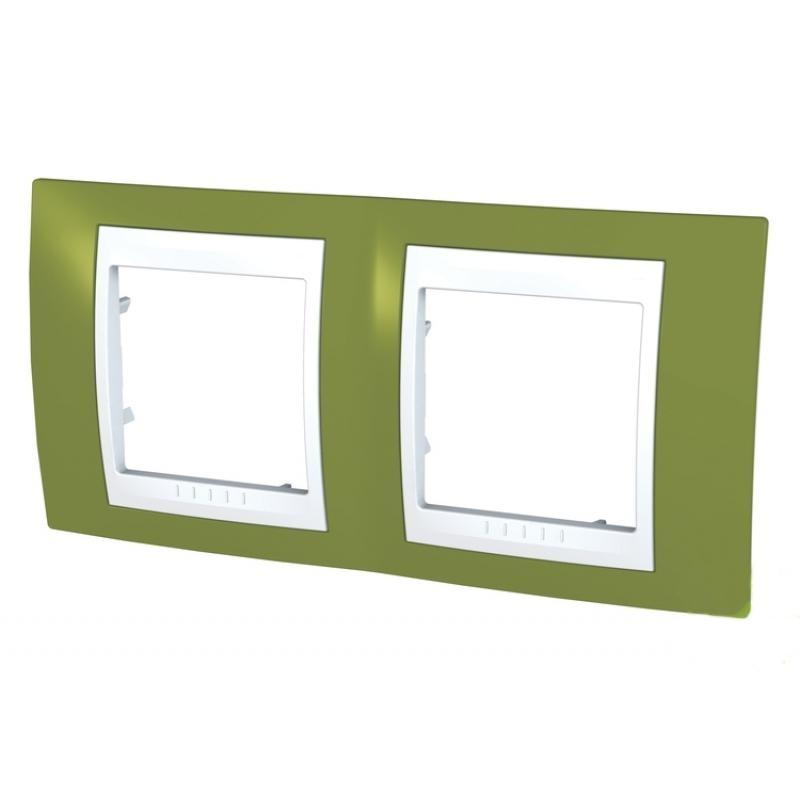 Рамка для розеток и выключателей Unica, 2 поста, цвет фисташковый/белый