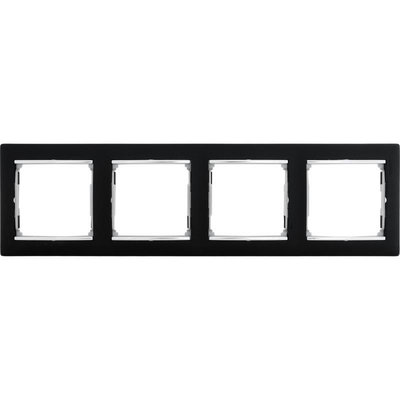 Рамка для розеток и выключателей Legrand Valena 4 поста, цвет ноктюрн/серебряный штрих