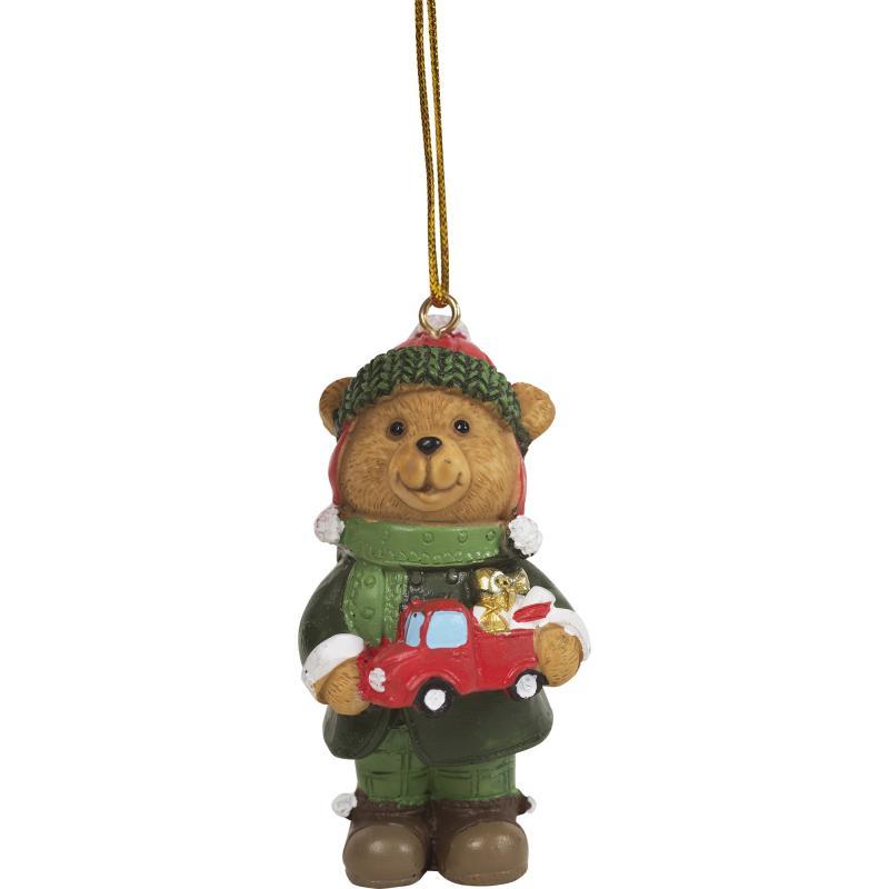Украшение ёлочное «Мишка с машинкой», 8 см, полирезина