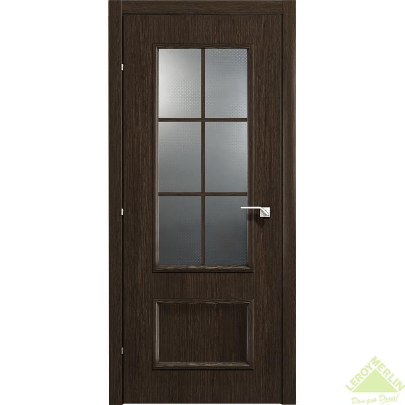 Дверь межкомнатная остеклённая 5003 КД 21-9 с фурнитурой, черный дуб