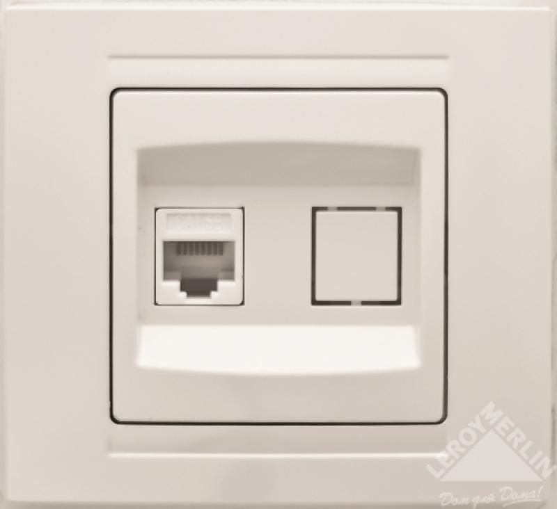 Розетка компьютерная Gunsan Moderna RJ-45, цвет белый