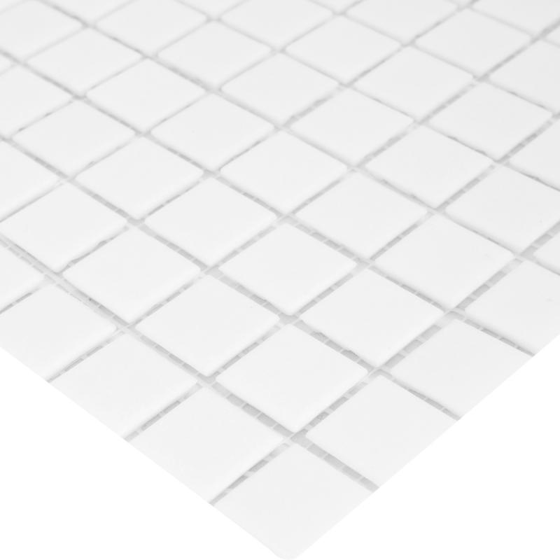 Мозаика, 32.7х32.7 см, 4 мм, стекломасса, цвет белый