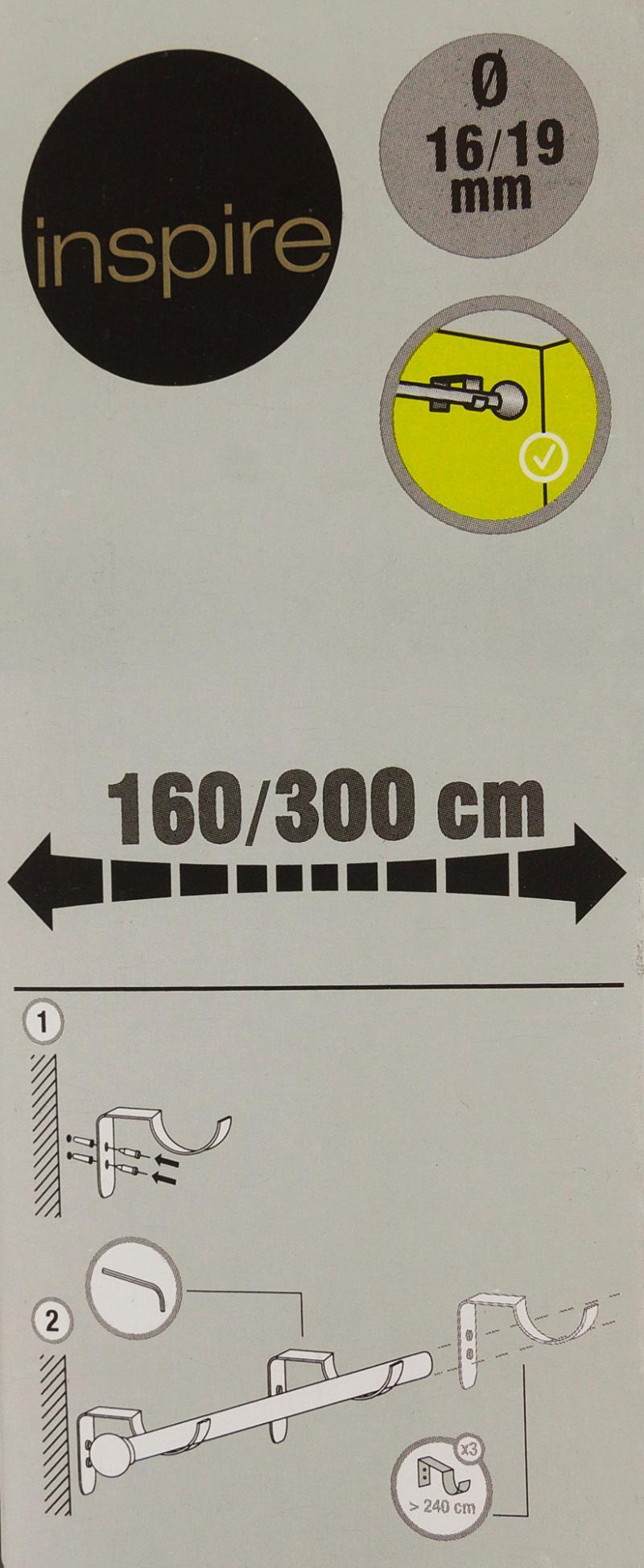Карниз однорядный раздвижной «Цилиндр», 160-300 см, цвет чёрный матовый