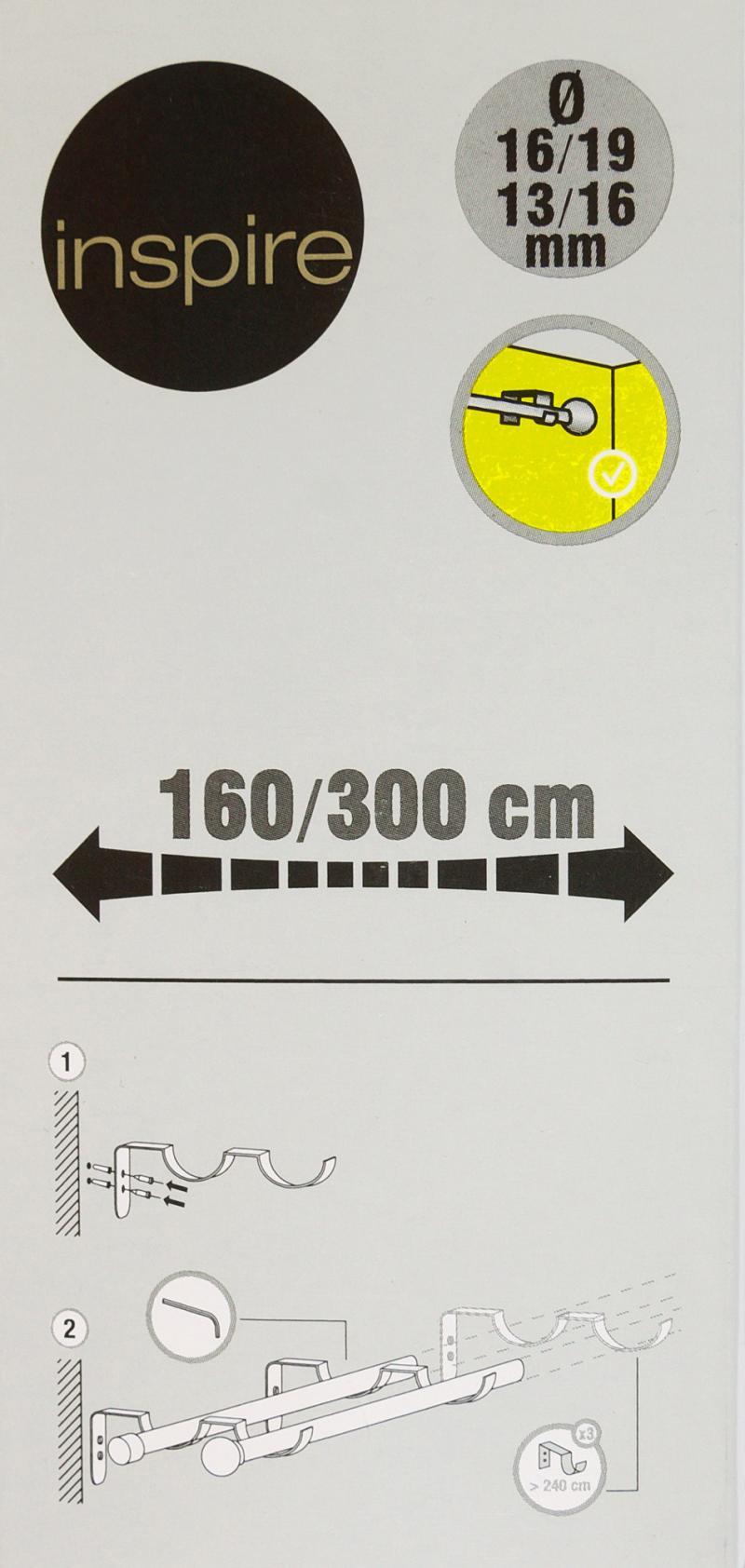 Карниз двухрядный раздвижной «Круг», 160-300 см, цвет чёрный матовый