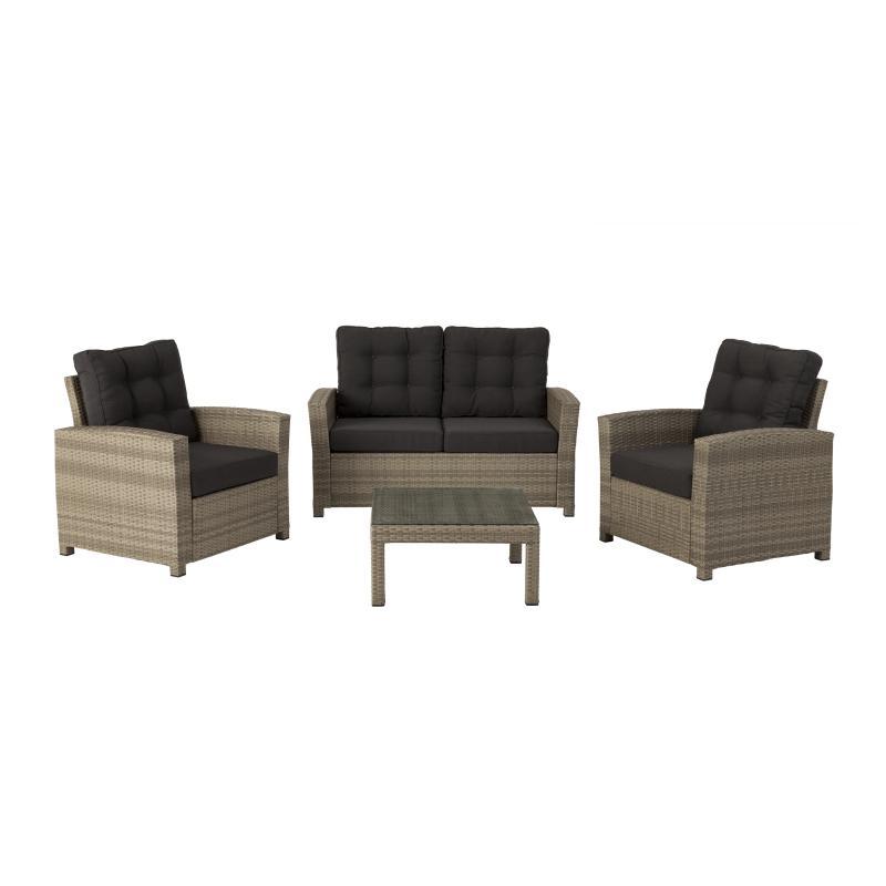Набор садовой мебели: двухместная скамья, 2 стула, стол