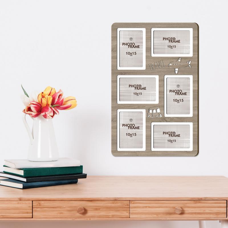 Фотосет «Путешествия», 6 фото, размер фото 10х15 см, цвет дуб