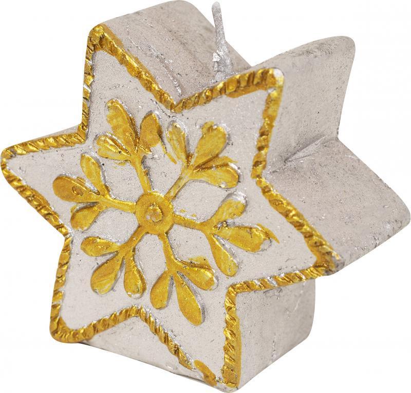 Свеча новогодняя «Серебряная звёздочка», 6 см, парафин
