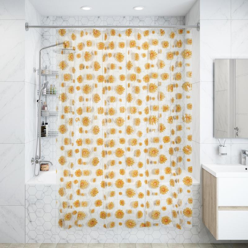 Штора для ванной комнаты «Ромашки» 180х200 см цвет жёлтый