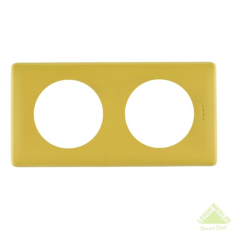 Рамка для розеток и выключателей Celiane, 2 поста, цвет шафран
