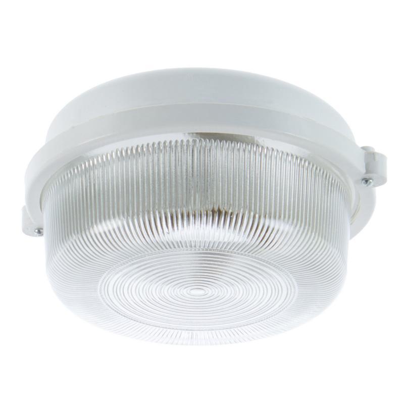 Светильник 1xE27х60 Вт, круг, без решётки, цвет белый, IP53