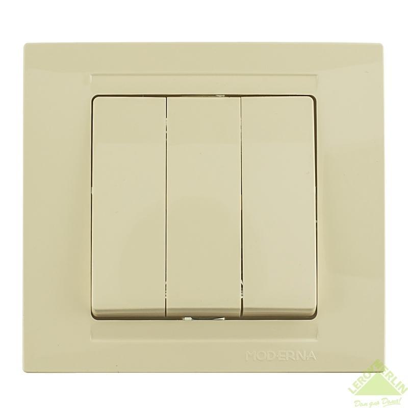 Переключатель Gunsan Moderna 3-клавишный, кремовый